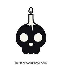 skull head halloween with candle