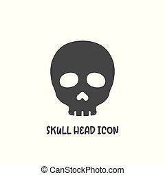 Skull head icon simple flat style vector illustration.