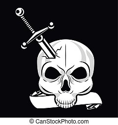 skull head tattoo with sword studio graphic