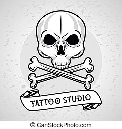 skull head with bones crossed and ribbon tattoo studio graphic