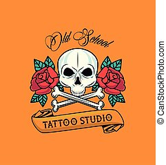 skull head with bones crossed and roses flowers tattoo studio graphic