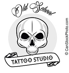 skull head with calligraphy and ribbon tattoo studio graphic