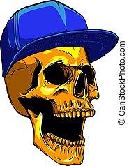 skull head with hat verctor illustration design