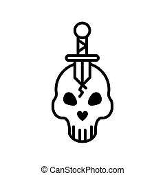 skull head with sword crossed line style icon