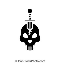 skull head with sword crossed silhouette style icon