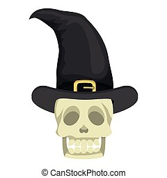 skull head with witch hat halloween