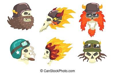 Skull Heads Wearing Retro Helmets Set, Biker Skull Bones Vector Illustration