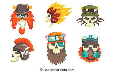 Skull Heads with Beards Wearing Retro Helmets Set, Biker Skull Bones Vector Illustration