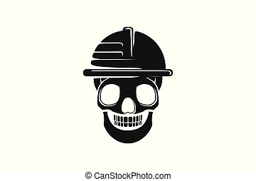 skull helmet safety from danger logo design inspiration