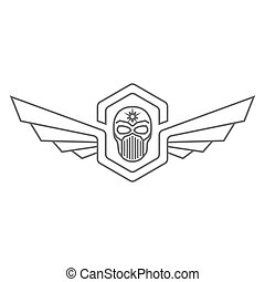 Skull helmet with wings logo
