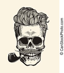 Skull. Hipster  silhouette with mustache, beard, and tobacco pipes. Sticker that represents  character. Vector illustration in vintage engraving style. Perfect for t-shirt print.