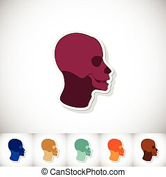 Skull human head. Flat sticker with shadow on white background