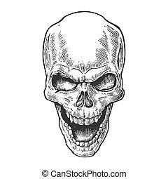 Skull human with a smile. Black vintage vector illustration....