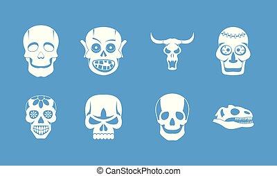 Skull icon blue set vector