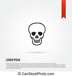 Skull Icon. Danger concept. Flat design style. Tem
