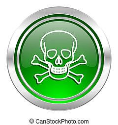 skull icon, green button, death sign