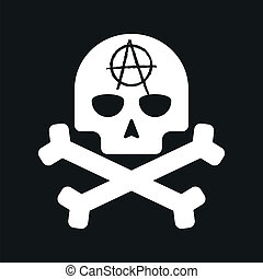 Illustration of an isolated skull with an anarchy