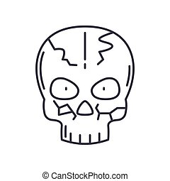 Skull icon, linear isolated illustration, thin line vector, web design sign, outline concept symbol with editable stroke on white background.