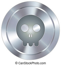 Skull icon on industrial button