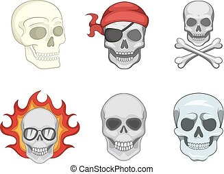 Skull icon set, cartoon style