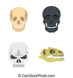 Skull icon set, flat style