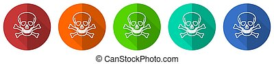 Skull icon set, red, blue, green and orange flat design web buttons isolated on white background, vector illustration