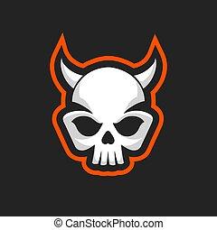 Skull icon. Skull with horns logo design template