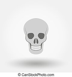 Skull. Icon. Vector. Flat.