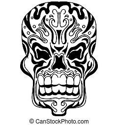 Skull Icon Zentangle Style