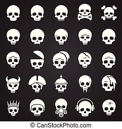 Skull icons set on black background for graphic and web design. Simple vector sign. Internet concept symbol for website button or mobile app.