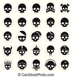 Skull icons set on circles background for graphic and web design. Simple vector sign. Internet concept symbol for website button or mobile app.