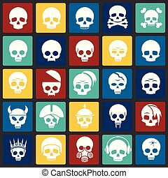 Skull icons set on color squares background for graphic and web design. Simple vector sign. Internet concept symbol for website button or mobile app.