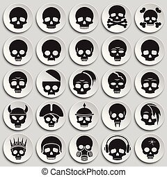 Skull icons set on plates background for graphic and web design. Simple vector sign. Internet concept symbol for website button or mobile app.