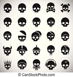 Skull icons set on white background for graphic and web design. Simple vector sign. Internet concept symbol for website button or mobile app.