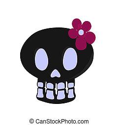 Skull Illustration - Skull with a flower illustration on a...