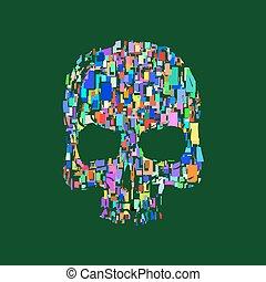 Skull illustration t-shirt graphics print. vector