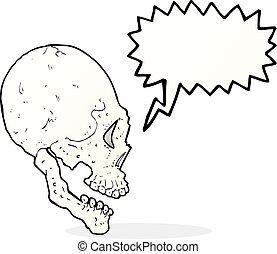 skull illustration with speech bubble