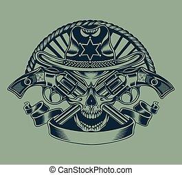 skull., ilustracja, sheriff's