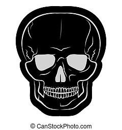 skull., imagem, ilustração, vetorial, pretas, human