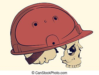 skull in a construction helmet