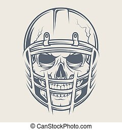 Skull in a helmet to play  football.