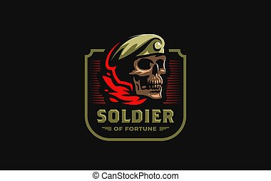 Skull in a military beret