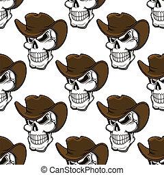 Skull in a stetson seamless pattern