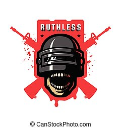 Skull in a stormtrooper helmet, sport game logo. Vector illustration.
