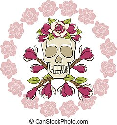 Skull in a wreath of magnolia with a frame of flowers. Isolated vector objects.