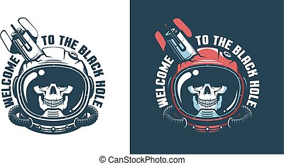 Skull in astronaut helmet with stumbled space rocket