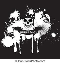 Skull in bandana illustration - Vector grunge skull in...