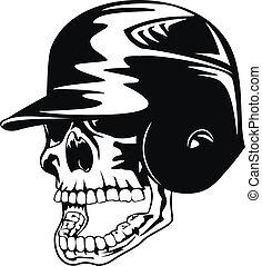 skull in baseball helmet