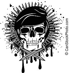 skull in beret and crossed knives