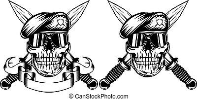 Vector illustration crossed daggers and skull in beret